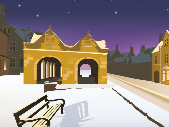 Close up of illustration of Chipping Campden at night