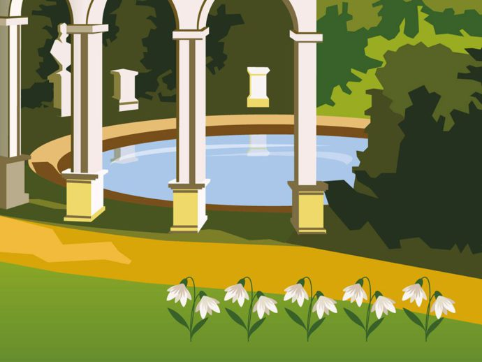 Close up of Illustration of Painswick Rococo Garden