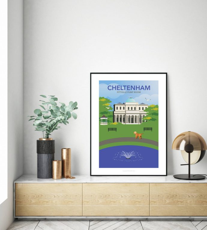 Pittville Park illustrated travel poster