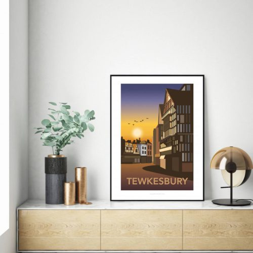 Tewkesbury at Night illustrated travel poster